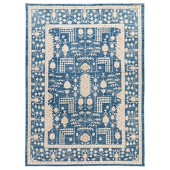 Contemporary Blue and Ivory Oushak-Style Wool Area Rug