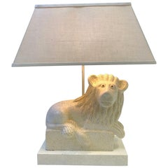 Italian Ceramic Lion Table Lamp by Steve Chase