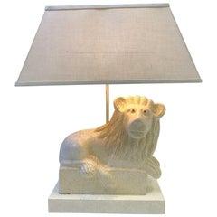 Italian Ceramic Lion Table Lamp by Steve Chase