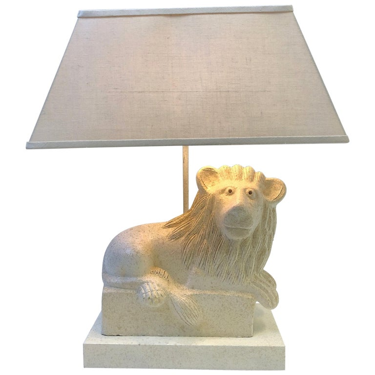 Italian Ceramic Lion Table Lamp by Steve Chase For Sale