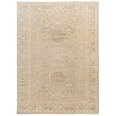 Contemporary Ivory and Grey Khotan-Style Wool Area Rug
