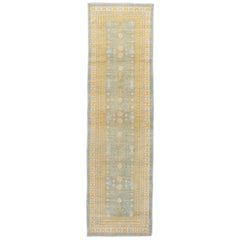 Contemporary Blue and Yellow Khotan-Style Wool Runner Rug