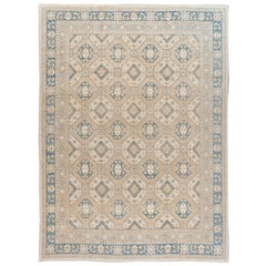 Contemporary Oversize Tan and Blue Khotan-Style Wool Area Rug