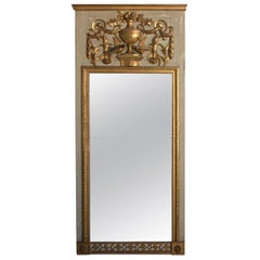 Late 18th Century Lacquered Wood and Gilded Trumeau Mirror