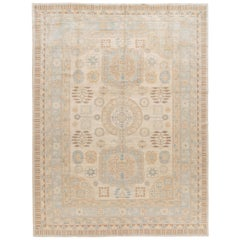 Contemporary Ivory and Blue Khotan-Style Wool Area Rug