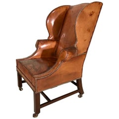 19th Century Victorian Leather Wing Back Library Armchair on Brass Castors
