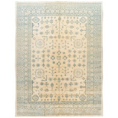 Contemporary Oversize Ivory and Blue Khotan-Style Wool Area Rug