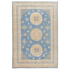 Contemporary Blue and Gold Khotan-Style Wool Area Rug