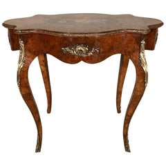 19th Century French Louis XV Style Burr Walnut Centre Table with Marquetry