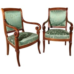 19th Century French Empire Style Armchairs with Vintage Upholstery