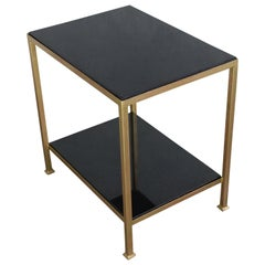 Marcelo Iron End Table with Polished Granite Surface