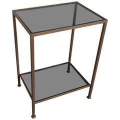 Marcelo Iron End Table with Grey Glass Shelves
