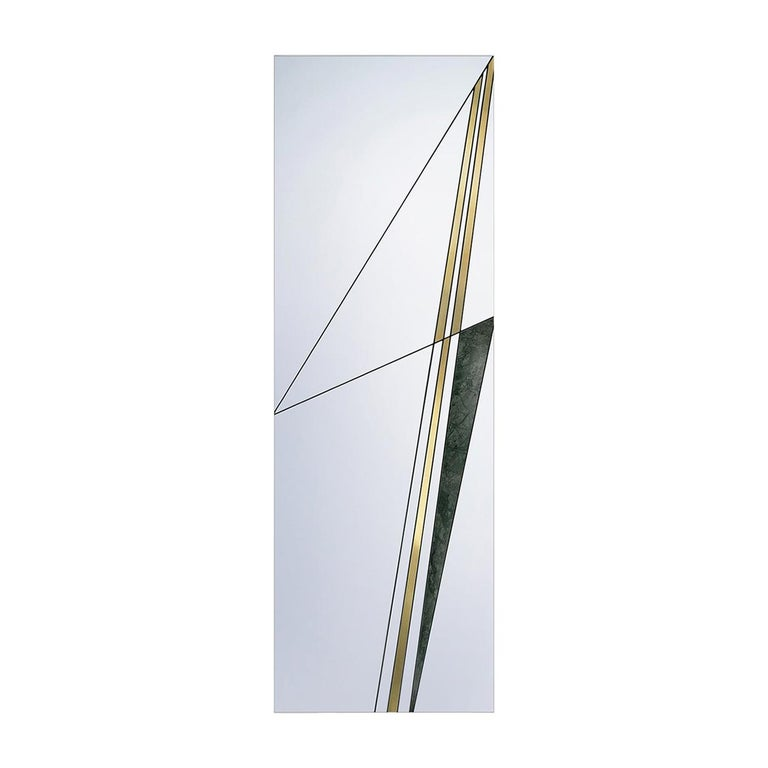 Via III Mirror with Brushed Brass by Atlas Project For Sale