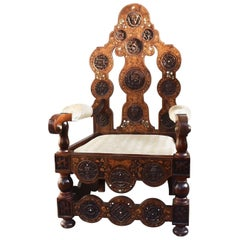 19th Century Dutch Office Chair Asian Floral Inlaid DIM Assises a Prendre