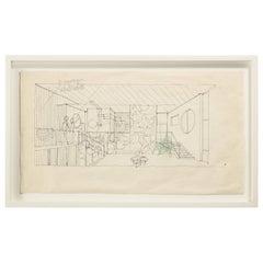 """Gio Ponti Architectural Drawing """"Schizzo d'interni di Villa Caracas"""", Italy 1965"""