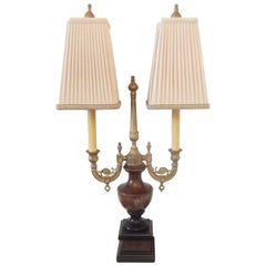 Marble and Cast Gilt Brass Double Light Table or Desk Lamp