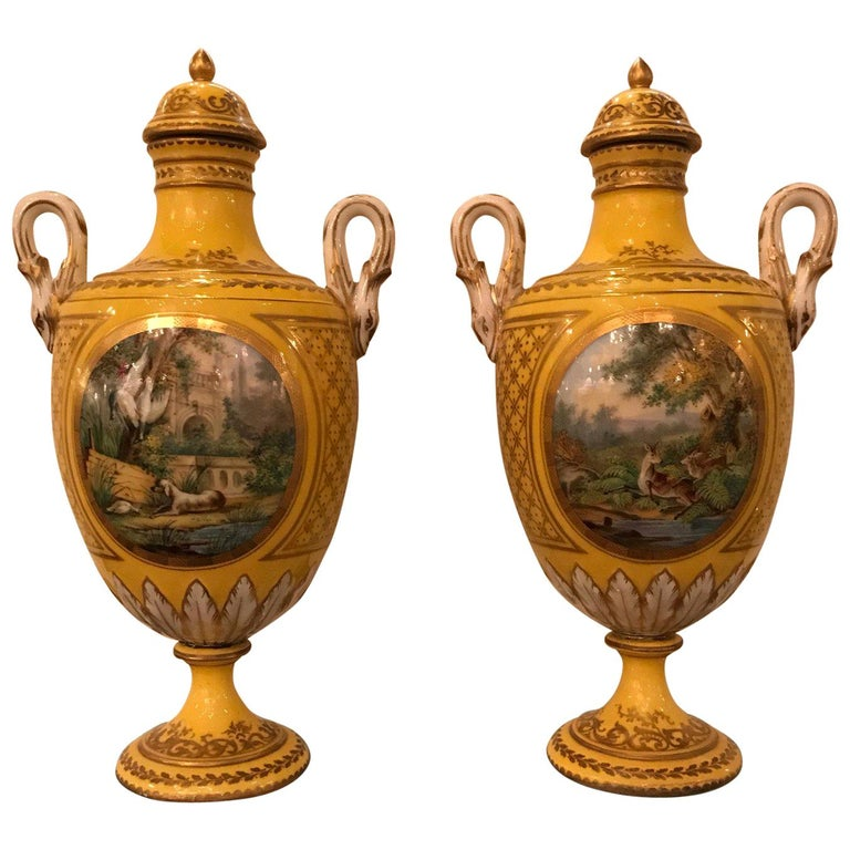 Pair of 19th Century Hand Painted French Porcelain Lidded Urns For Sale