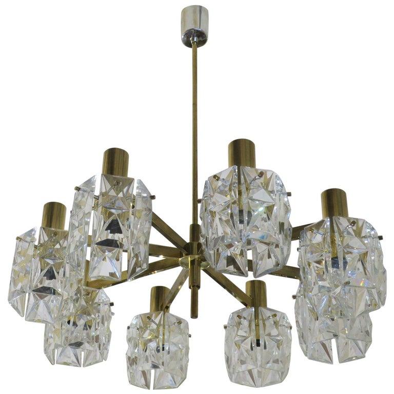 Kinkeldey Midcentury Faceted Crystal and Brass Chandelier, 1960s For Sale