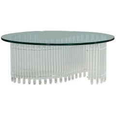 Vintage Acrylic Tambour Style Oval Cocktail Table