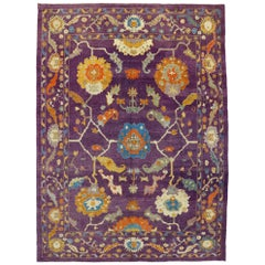 New Contemporary Purple Oushak Rug with Hollywood Regency and Post-Modern Style