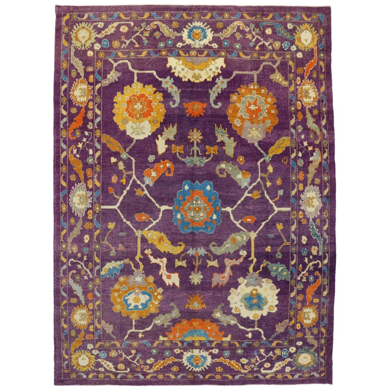 New Contemporary Purple Oushak Rug With Hollywood Regency And Post Modern Style