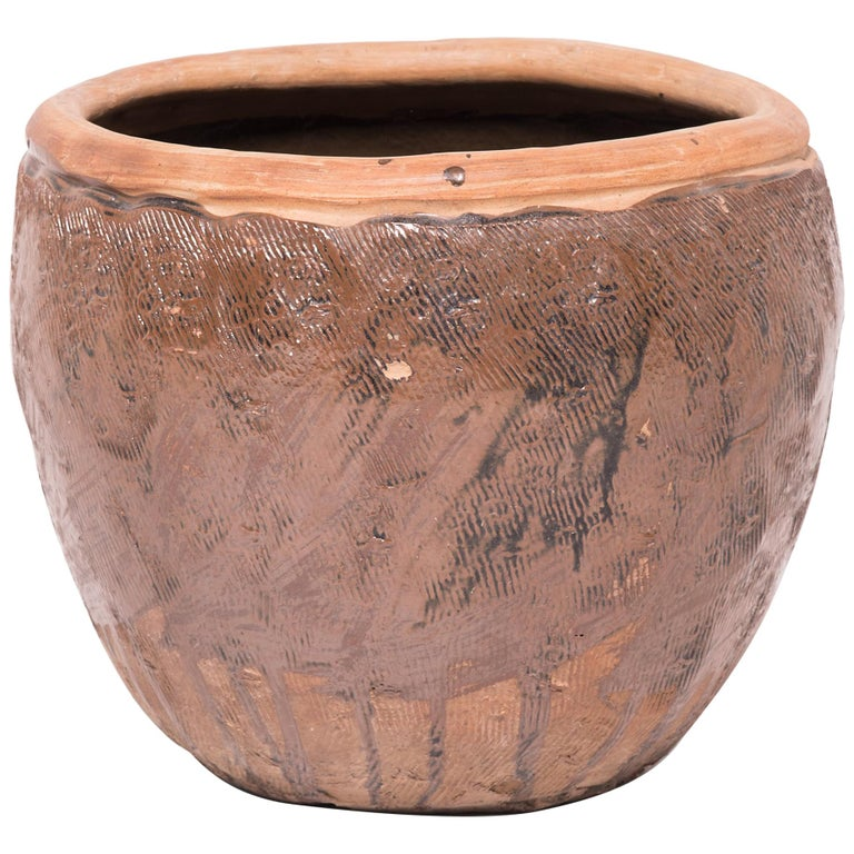 Chinese Incised Terracotta Grain Jar For Sale