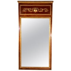 Large French 19th Century Trumeau Mirror in Walnut with Parcel Gilt