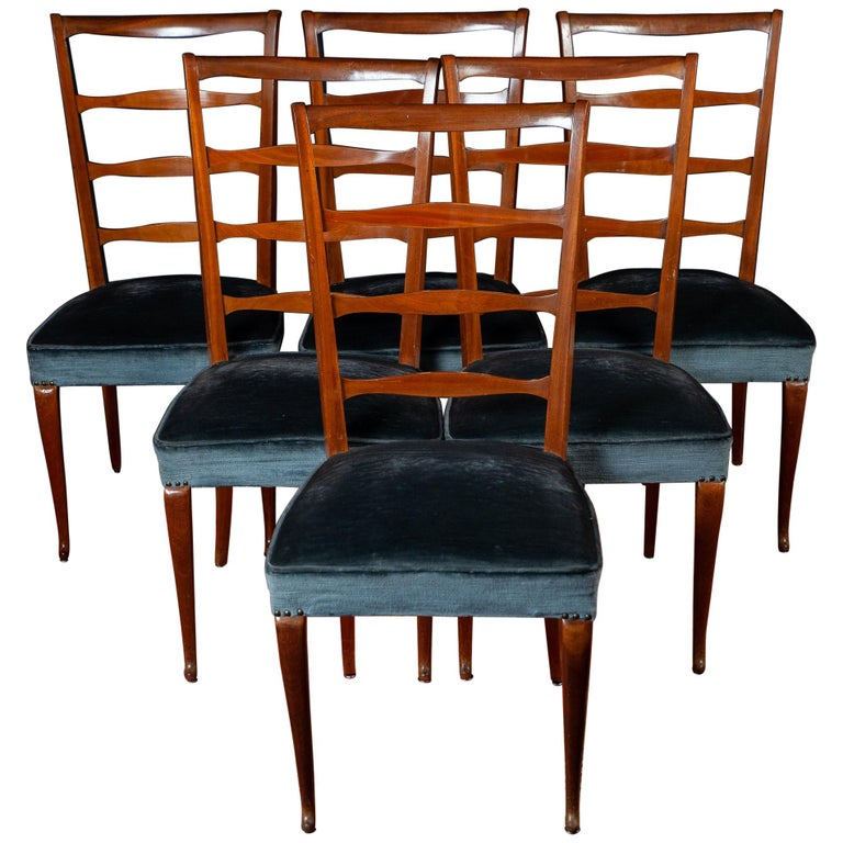 Set of Six Italian Midcentury Dining Chairs by Paolo Buffa, 1950 For Sale