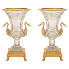 Pair of French 19th Century Neoclassical Style Ormolu and Baccarat Crystal Urns