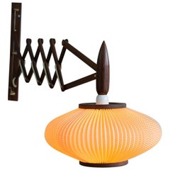 Mid-Century Scandinavian Modern Varnished Rosewood Danish Wall Lamp, 1950s