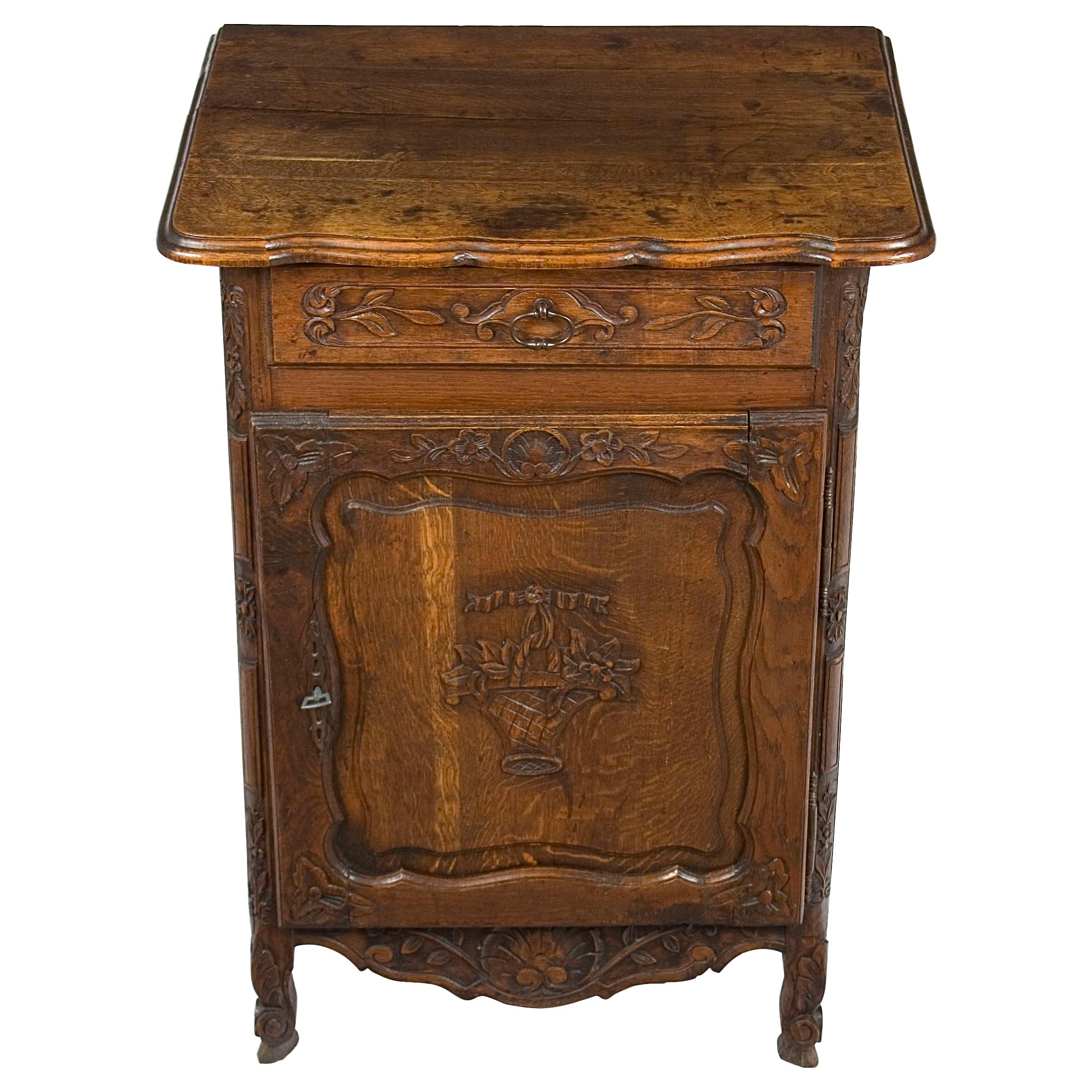 French Louis XV Style Carved Oak Small Cabinet Jelly Cupboard