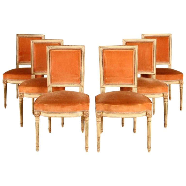 Set of 6 Louis XVI Parisian Dining Chairs For Sale