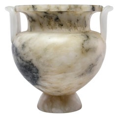 New Italian Carved Alabaster Vase with Handles