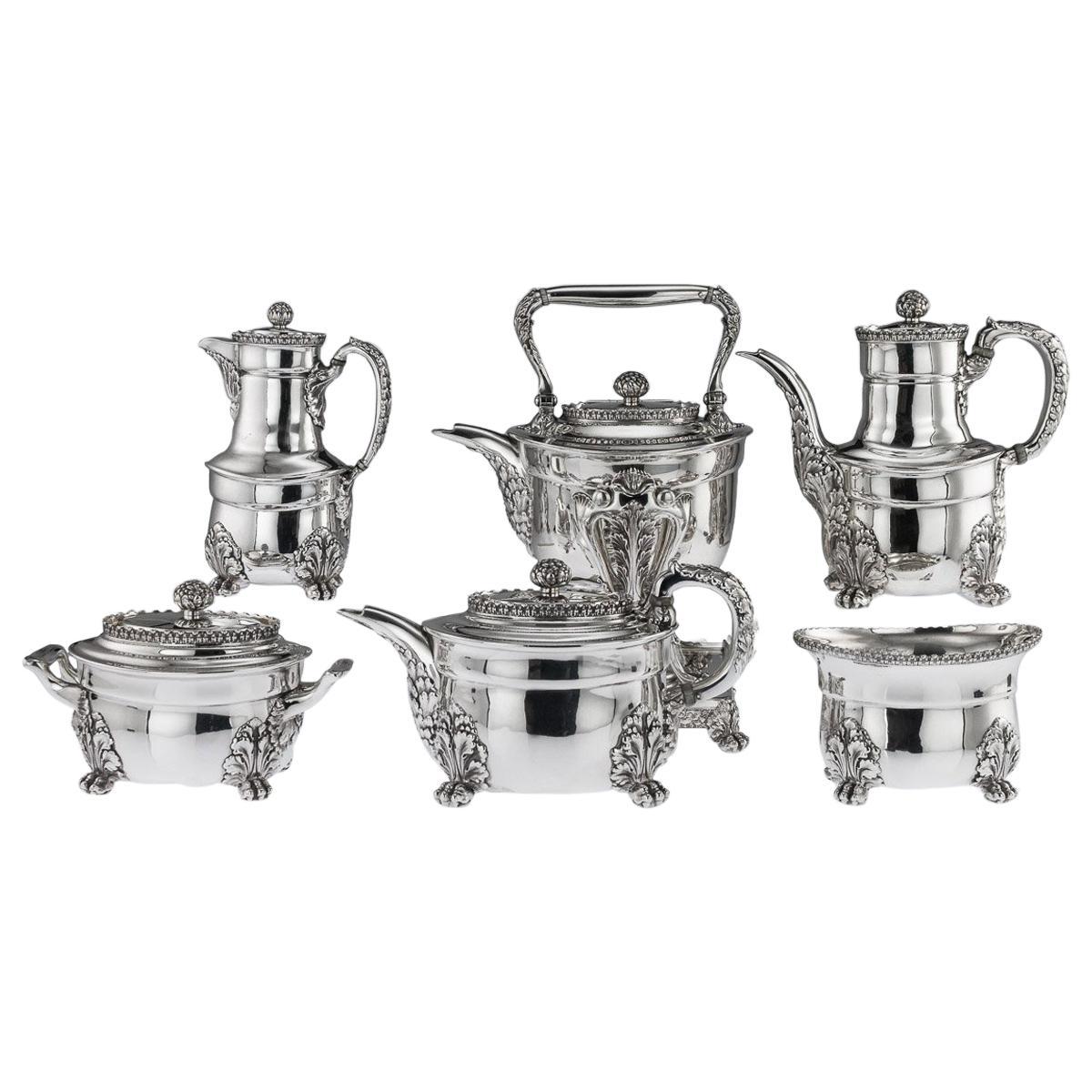 19th Century American Tiffany & Co. Solid Silver Acanthus Tea Service circa 1880