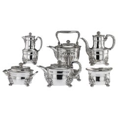 19th Century American Tiffany & Co. Solid Silver Acanthus Tea Service circa 1880