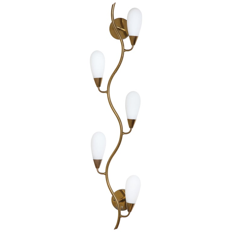 d35eb6225f8a Midcentury Brass and Frosted Glass Shade Wall Light, Italy, 1950s For Sale