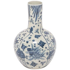 Chinese Blue and White Fish and Flora Gooseneck Vase