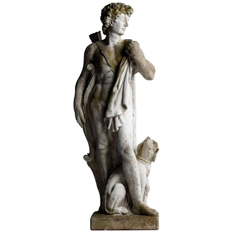 Cast Stone Statue of a Hunter, England, circa 1950 For Sale