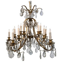 20th Century Gilt Iron and Crystal 15 Light Caldwell Chandelier
