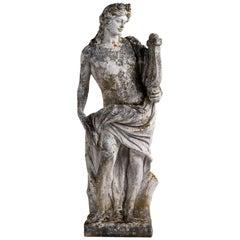 Cast Stone Garden Statue of Apollo, England, circa 1950