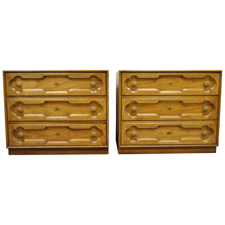 Drexel Heritage Hollywood Regency Bachelor Chests Bedside Commode Dresser, Pair