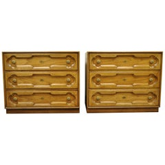 Drexel Heritage Hollywood Regency Bachelor Chests Bedside Commode Dresser, Pair
