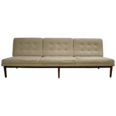 Midcentury Florence Knoll Sofa #53 T Three-Seat Solid Teak Base Wool Upholstery