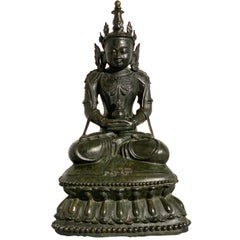 Burmese Arakan Bronze Crowned Buddha, 17th Century