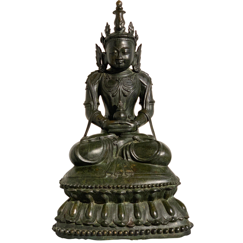 Burmese Arakan Bronze Crowned Buddha, 17th Century