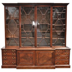 Period 18th Century George III Mahogany Breakfront Bookcase