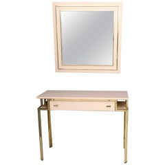Pale Pink Formica and Brass Console with Wall Mirror, Italy, 1970s-1980s