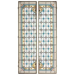 Pair of Leaded and Painted Glass Shutters, France, circa 1890