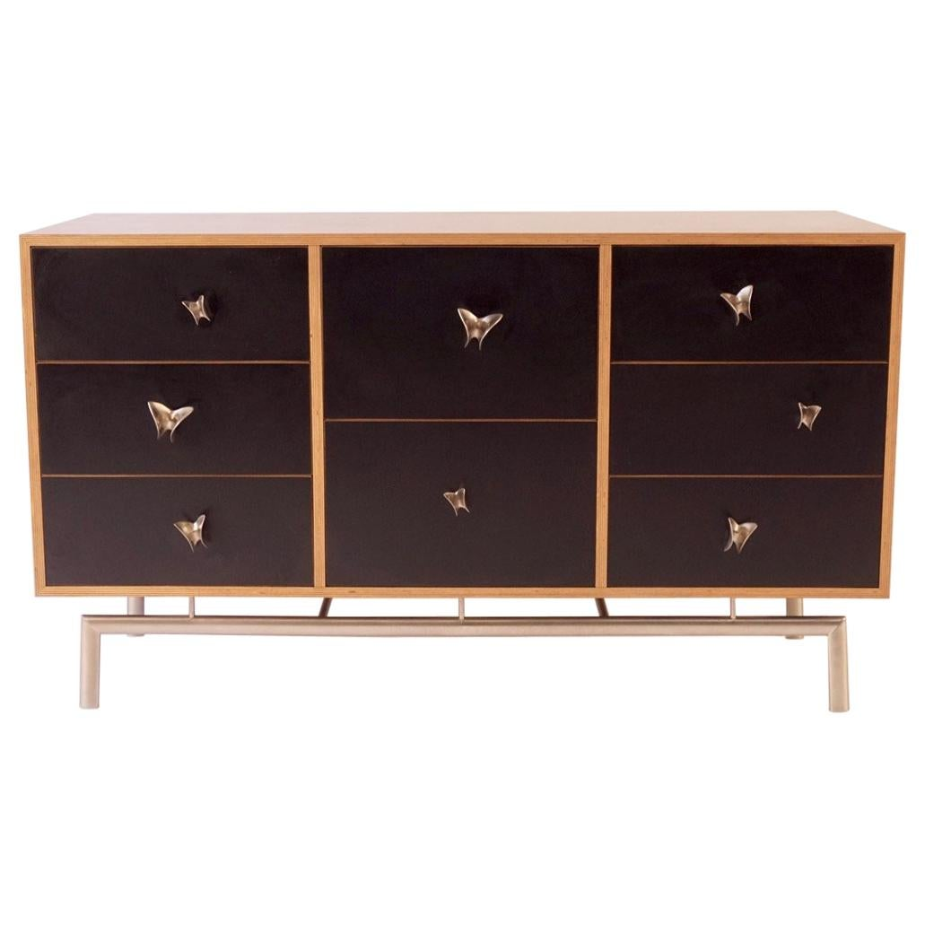 Black Finn Ply Cabinet with Nickel Plated Bronze Base and Butterfly Pulls