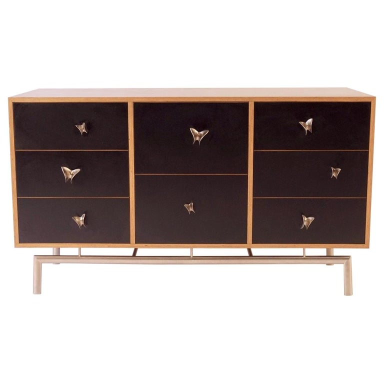 Black Finn Ply Cabinet with Nickel Plated Bronze Base and Butterfly Pulls For Sale